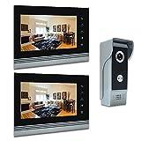 AMOCAM 7'' Video Intercom Systems, Aluminum Alloy / Acrylic Panel Doorphone, Wired Video Door Phone Doorbell Kits, Support Monitoring, Unlock, Dual-way Door Intercom, 2- LCD Monitor, 1- IR Camera