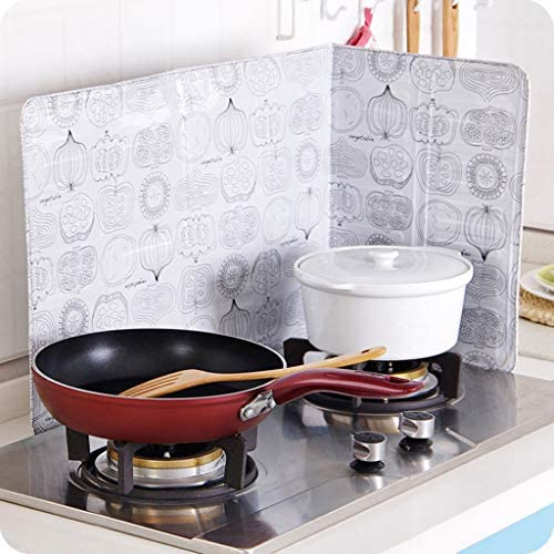 Ama-store Kitchen Oil Splash Guard Kitchen Foil Plate Anti-Oil Home Kitchen Stove Foil Plate Prevent Oil Splash Cooking Hot Baffle Kitchen Tool Guard Cooking Hot Baffle Kitchen Tool Wall Decor