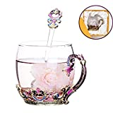 Glass Tea Cup Coffee Mug, Hand Blown Glass Drinking Mug Made of Lead-free Glass, Vin­tage Glass Cups with Spoon Set, Birthday Decoration Wedding Gift Ideas (Purple Short)