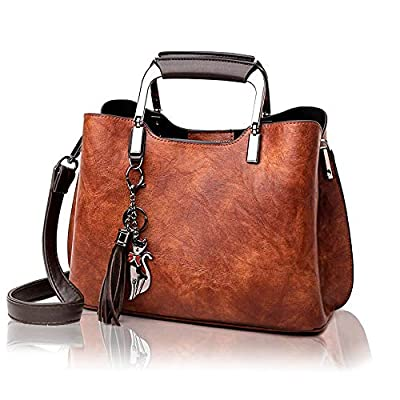 Small Leather Handbag and Purse for Women - Ladies Top-Handle Bag with Tassle