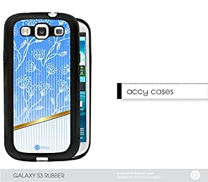 Blue Light White Floral Samsung Galaxy S3 I9300 Rubber Silicone TPU Cell Phone Case