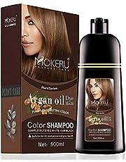 MOKERU ARGAN OIL DYE HAIR -COLOR SHAMPOO-500ML DARK BROWN