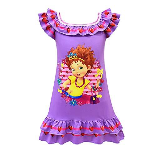 Girls Fancy Nancy Pajama Print Princess Dress Short Sleeve Nightgown Sleepwear Purple]()