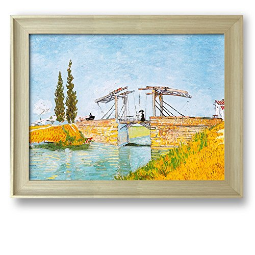 The Langlois Bridge by Vincent Van Gogh Framed Art Print Famous Painting Wall Decor Natural Wood Finish Frame