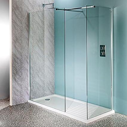 Aquatech - Mampara de ducha de 10 mm, cristal de 1200 mm de fácil limpieza, para duchas a ras de suelo o plato de ducha, con estructura de acero inoxidable de apoyo: