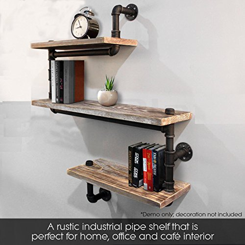 industrial pipe shelving bookshelf rustic modern wood. Black Bedroom Furniture Sets. Home Design Ideas