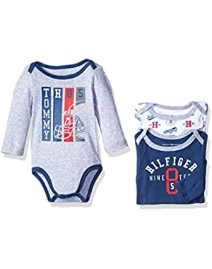 Tommy Hilfiger Baby Boys' Long Sleeve Print and Solid Bodysuits (Pack of 3)