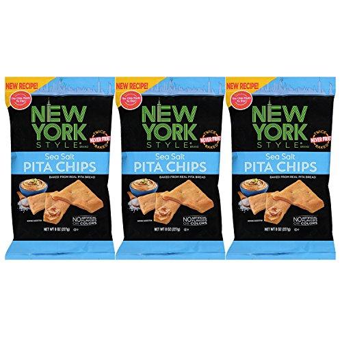 New York Style Pita Chips, Sea Salt (Pack of 3)