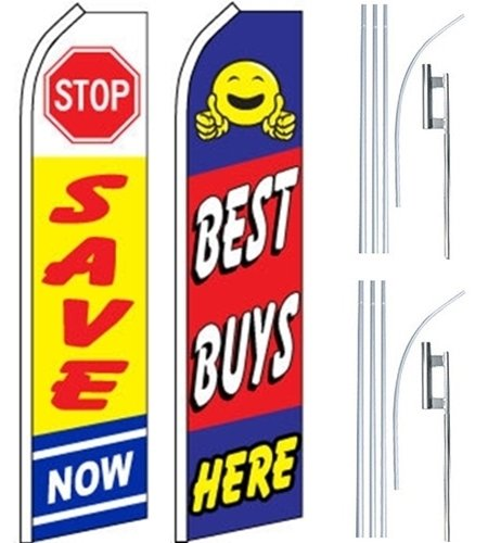 Business Ad Swooper Flutter Feather Flags & Poles 2 Pack-Stop Save-Best Buys by Mission Flags