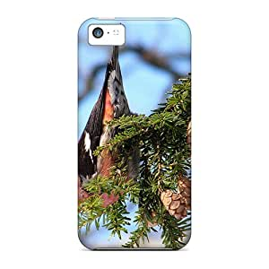 5c Scratch-proof Protection Case Cover For Iphone/ Hot Grosbeak In Rose Phone Case