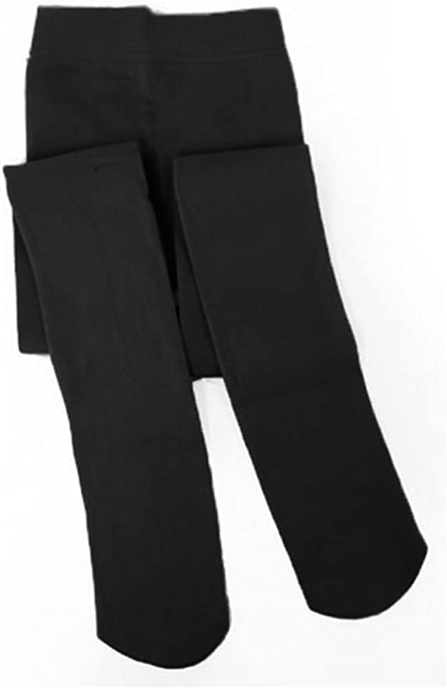 Dolce Girls Fleece Lined Footed Tights Black-Size Small