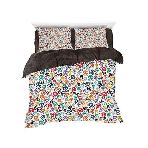 iPrint Comfortable Bed Sheet Set with Bedding Pillow Case Cover for Bed Width 6ft Pattern by,Skulls Decorations,Halloween Theme Colorful Skulls and Crossbones,