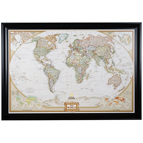 Craig Frames Wayfarer, Executive World Push Pin Travel Map, Satin Black Frame and Pins, 24 by - Wayfarers Travel World