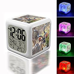 Digital Alarm Thermometer Night Glowing Cube 7 Colors Clock LED Customize the pattern 036.Brown Deer Eating Grass