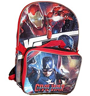 Marvel Cpt. America Civil War IronMan Backpack w/ Detachable Insulated Lunch Box