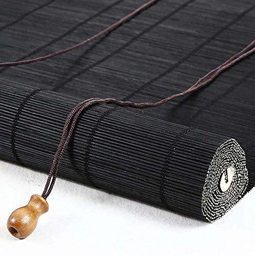 Bamboo Blinds Wooden Roller Blind Vertical Shading shutters Roman Curtain for Indoor/Outdoor, Decorative Accessories Sunscreen Moisture Proof (Black) ()