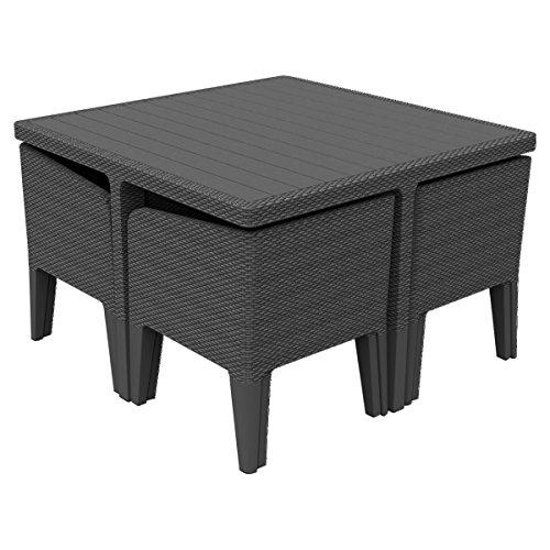 Tavolo E Sedie Rattan.Keter Columbia Outdoor Garden Furniture Dining Cube Set Graphite