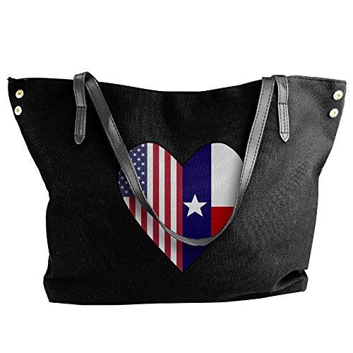 Bag Flag Flag Shoulder Women's Texas Half Black USA Canvas Hobo Half Large Love Handbag Tote Heart vHxp60x