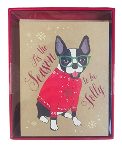 Tis the Season to be Jolly French Bulldog in Holiday Attire Box of 16 Christmas Holiday Cards and Envelopes (Christmas Card Be Joyful)