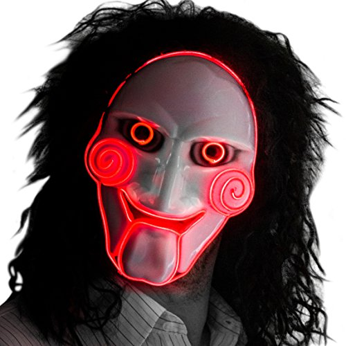 Neon Nightlife Men's Light Up Saw Movie Creepy Halloween Jigsaw Puppet Mask, Red]()