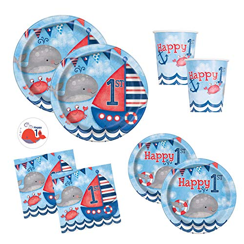(Nautical First Birthday Party Supplies Set Featuring Whales and Sailboats - Dinner, Cake Plates, Cups, Napkins, Sticker (Standard - Serves)