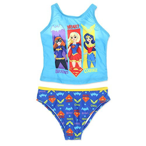 DC Super Hero Girls Swimwear Swimsuit (4, Blue)