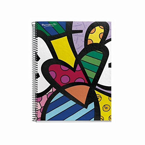 Britto for Miquelrius Cardboard Notebook, Heart (6 x 8, 4-Subject, College Ruled) 120 SHEETS