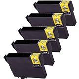 5 Inkfirst® 220XL 220XL Black Ink Cartridge T220XL120 (T220XL1) Compatible Remanufactured for Epson 220XL Black (High Capacity) Expression XP420 XP424 XP-320 WorkForce WF-2630 WF-2650 WF-2660