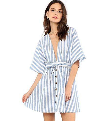 (Floerns Women's Summer V Neck Short Sleeve Dress Button Down Striped Mini Dress with Tie Belt Blue M)