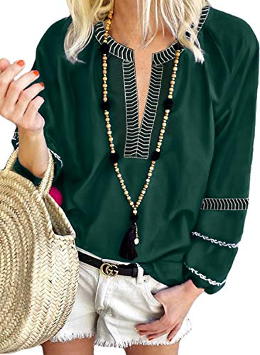 LOSRLY Womens V Neck Boho Embroidered Long Sleeve Chic Blouse Loose Fit Plus Size Shirt and Tops 2XL Green02