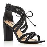 Via Spiga Women's Gardenia Block Heel Dress Sandal, Black Leather, 8 M US