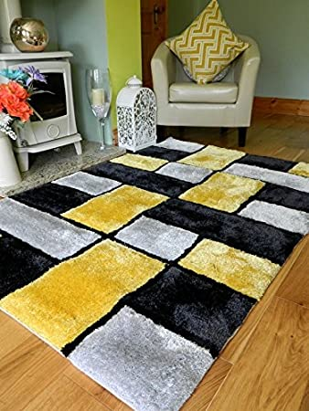 New Modern Yellow Black Silver Thick Heavy Silky Soft Luxurious