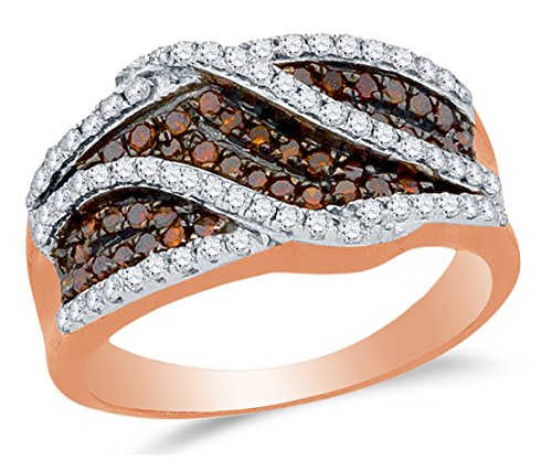 Size 7 - 10K Rose Gold Chocolate Brown & White Round Diamond Wedding Band Ring - Prong Setting - Curved Notched Band (3/4 (Chocolate Wedding Rings)