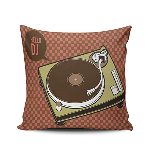 AIHUAW Home Decorative Cushion Covers Throw Pillow Case Turntable Hello Dj Pillowcases Square 18x18 Inches Double Sided Printed (Set of 1)