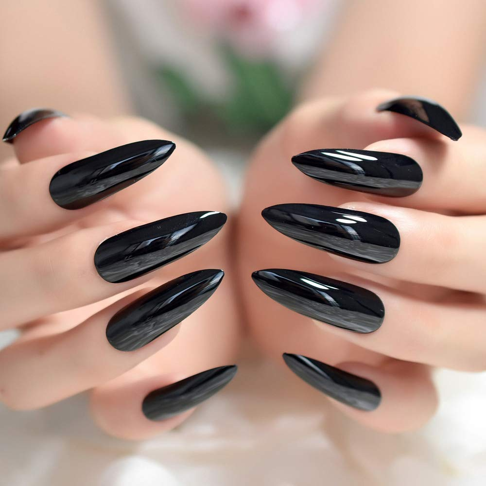 Amazon.com: Sharp Black Stiletto - Juego de uñas postizas ...