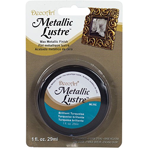 DecoArt Metallic Lustre Wax Finish, 1 oz, Brilliant Turquoise