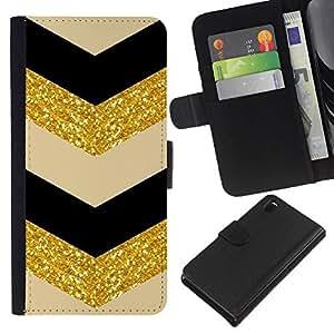 Sony Xperia Z3 D6603 / D6633 / D6643 / D6653 / D6616 Modelo colorido cuero carpeta tirón caso cubierta piel Holster Funda protección - Gold Black Beige Pattern