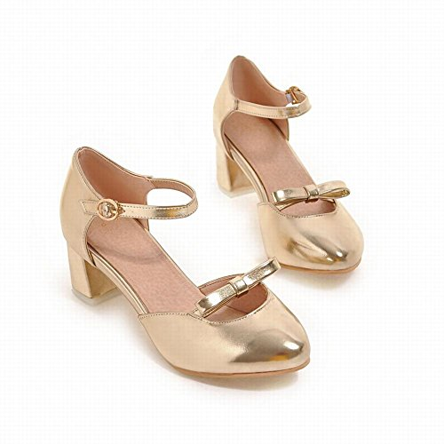 Carolbar Womens Buckle Bows Sweet Lolita Mid Heel Dress Sandals Gold Eg0o6