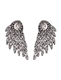 Fashion Vintage Stereo Angel Wing Ear Jacket Studs Earrings Front and Back Jewelry Gift for Women Girls