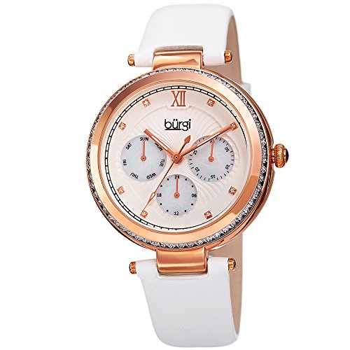 Baguette Crystal Dress Watch - Burgi Baguette Crystal Accented Women's Watch - White Genuine Leather Strap, Mother of Pearl and Crystal Dial - Multifunction Japanese Quartz with Day, Date and 24 Hour Displays – BUR182WT