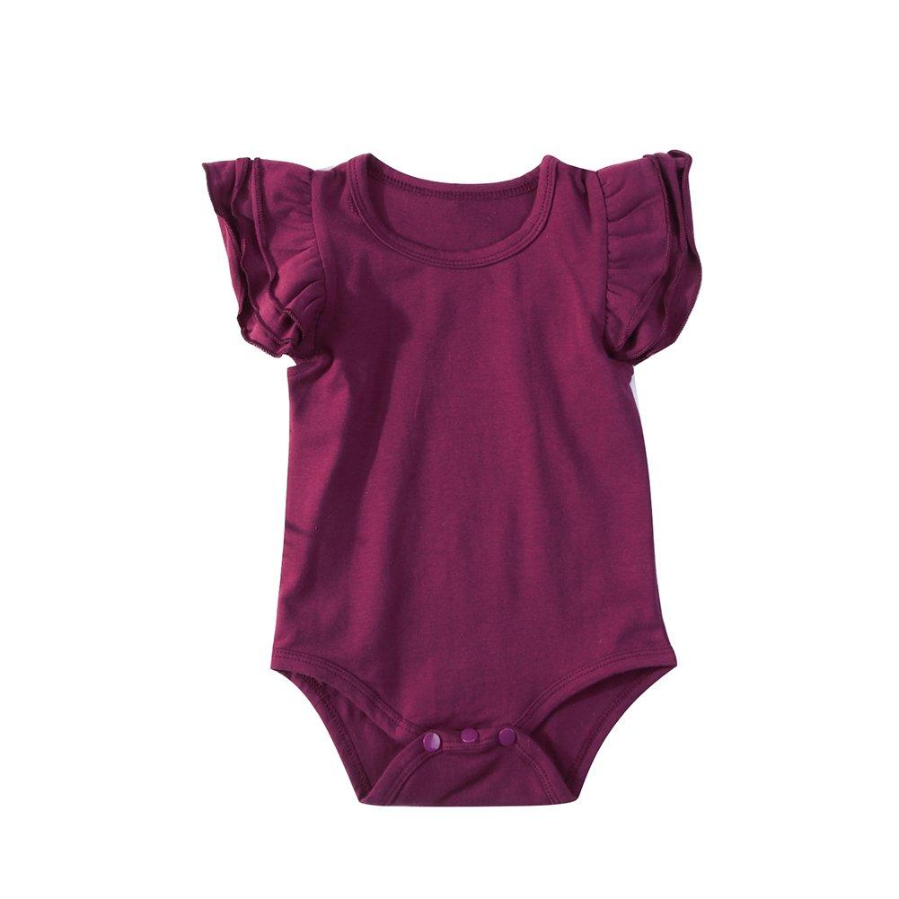 Minesiry Infant Baby Girl Basic Ruffle Short Sleeve Cotton Romper Bodysuit Tops Clothes