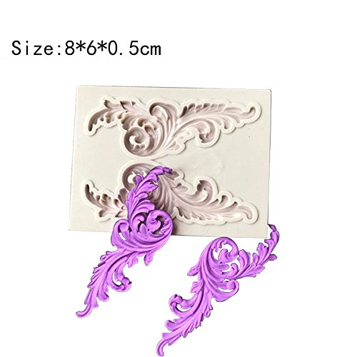 Joinor 5pcs Baroque Style Cane Curlicues Retro Lace Fondant Silicone Mold For Cake Border Decorations Polymer Clay Decor Jewelry Cupcake Topper Decorations