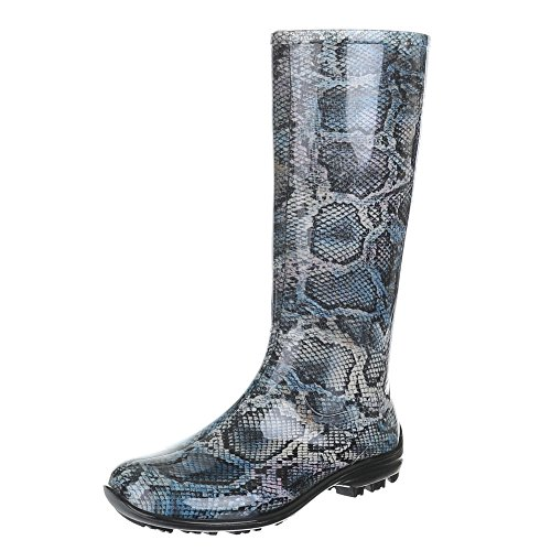Ital-Design Damen Schuhe, GST-F100P, Regenstiefel Gummistiefel Blau 4