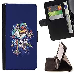 BullDog Case - FOR/HTC One M8 / - / PURPLE RAINBOW SKULL SNAKE BLUE /- Monedero de cuero de la PU Llevar cubierta de la caja con el ID Credit Card Slots Flip funda de cuer