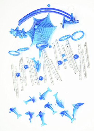 Colorful Large Wind chimes Amazing Grace Deep Resonant Relaxing Wind Chime with 20 pipes and 11 dolphin (Blue) (For Wind Pipes Chimes)