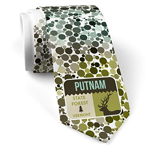 Neck Tie with National US Forest Putnam State Forest White with Color Print (Putnam Prints)