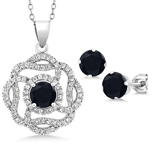 (6.56 Ct Round Black Zirconia 925 Sterling Silver Pendant Earrings Set)