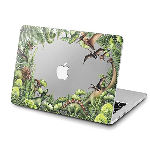 Lex Altern MacBook Air Case Pro 15 inch 13 11 12 2018 Green Dinosaurs Mac 1990 1708 Tropical Forest Retina Cover Animal Hard Fern Leaves Apple 2017 Clear 2016 Protective -
