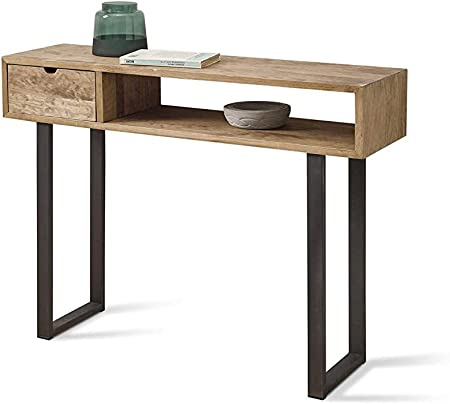 HOGAR24 ES Angi 100- Mueble Recibidor-Entrada, Diseño Industrial-Vintage, Cajón Y Estante, Madera Maciza Natural, Patas Metálicas. Medidas; 100 cm x 30 cm x 75 cm: Amazon.es: Hogar