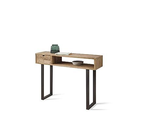 HOGAR24 ES Kronos 100- Mueble Recibidor-Entrada, Diseño Industrial-Vintage, Cajón Y Estante, Madera Maciza Natural, Patas Metálicas. Medidas; 100 cm x ...